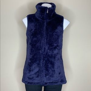 Fuzzy Navy Blue Vest with Zipper